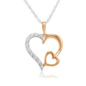 Rose Gold Plated Sterling Silver Diamond Heart Necklace