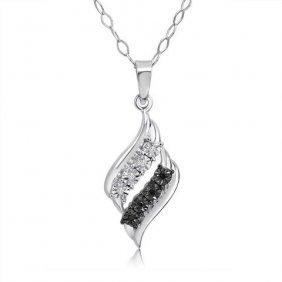 Sterling Silver Black/white Diamond Swirl Necklace