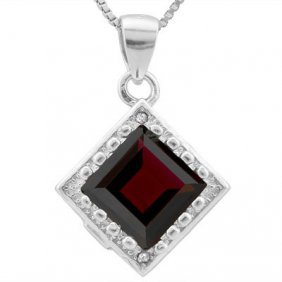 Genuine 2.33 Ctw Garnet And Diamond Platinum Plated .92