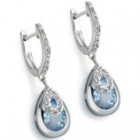 Genuine 3.80 Ctw Blue Topaz And Diamond Platinum Plated