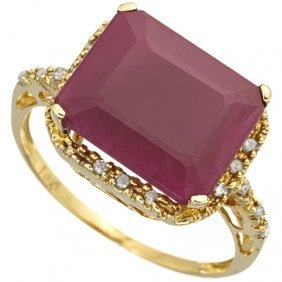 Genuine 6.10 Ctw Ruby And Diamond Solid 10k Yellow Gold