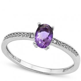 Genuine .39 Ctw Amethyst And Diamond Platinum Plated .9