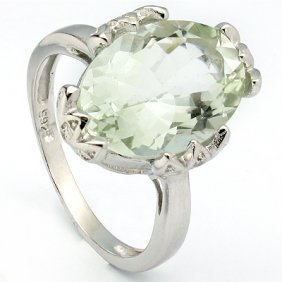 Genuine 5.26 Ctw Green Amethyst And Diamond Platinum Pl