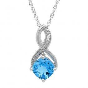 1.75 Ctw Swiss Blue Topaz/diamond Necklace In Sterling