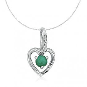 14k White Gold Emerald/diamond Heart Necklace