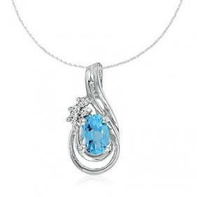 14k White Gold Blue Topaz/diamond Necklace