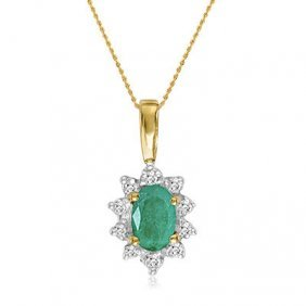 10k Yellow Gold Emerald/diamond Necklace