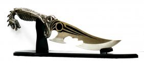 Stainless Steel Tribal Fantasy Knife With Wooden Displa