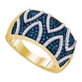 10k Yellow-gold 0.65ctw Blue Diamond Fashion Ring