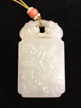 Carved Chinese Celadon Jade Plaque