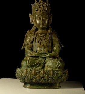 A Bronze Figure Of Guanyin.