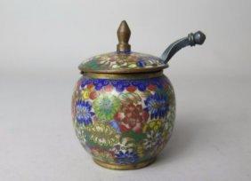 Chinese Cloisonne Enamel Pot W/ Handle, Qing Dyn.