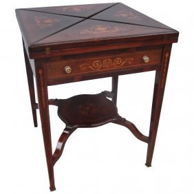 English Rosewood Game Table With Satinwood Inlay