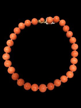 A Coral Beaded Necklace