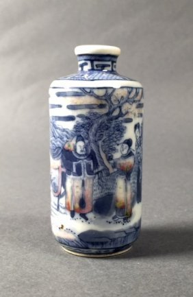 Blue And White Porcelain Snuff Bottle,