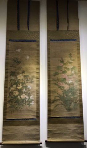 A Pair Of Chinese Scroll Painting Of Flowers And Birds