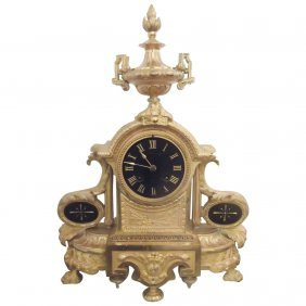 French Gilt Bronze And Black Slate Chiming Clock