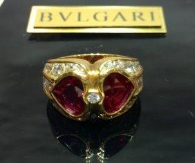 Bvlgari 18k Gold Ring With Diams And Rubellite
