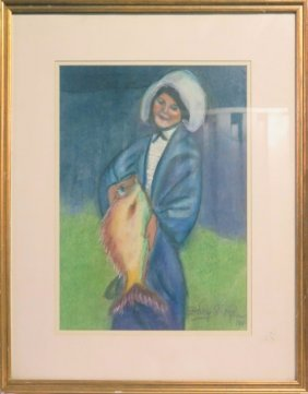 Women With Fish, Pastel