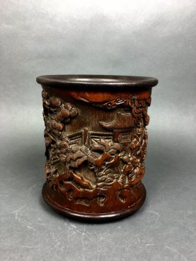 A Fine Chinese Carved Wood Brushpot