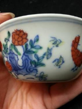 White And Blue Antique Chinese Teacup