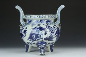 """""""china Blue And White Censer"""" Height 14 In."""