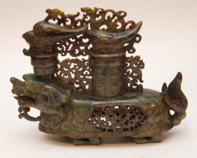 Chinese Carved Green Jade Mythical Beast Vessel