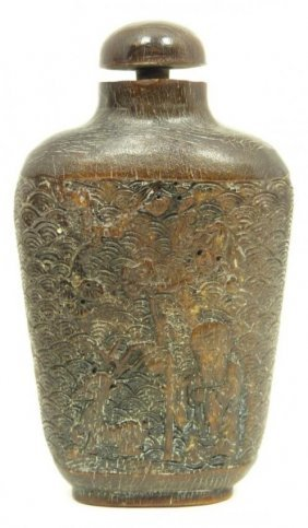 Chinese Relief Carved Horn Scholar Snuff Bottle