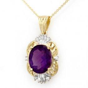 Genuine 5.23 Ctw Amethyst & Diamond Pendant 10k Gold