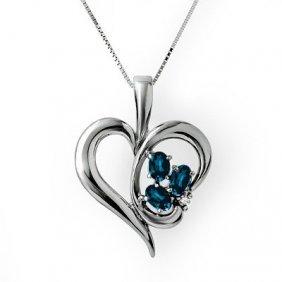 Genuine 1.10 Ctw Sapphire & Diamond Pendant 10k Gold