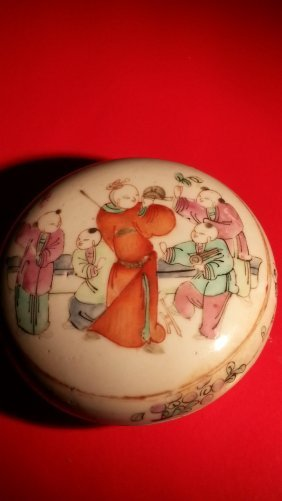 Chinese Famille Rose Powder Container