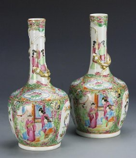 """""""china A Pair Of Rose Medallion Vases"""