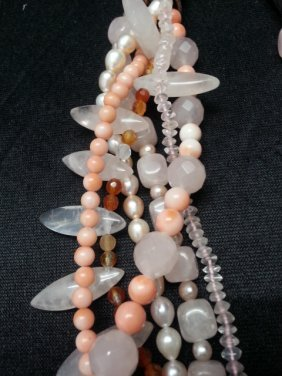 Peral Coral Crystal Necklace