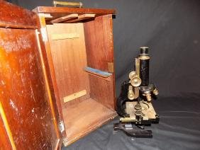 Bausch & Lomb Early 3 Objective Microscope,w/ Measuring