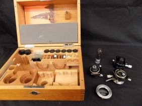 Wooden Box Of Leitz Eyepieces & Misc Microscope Parts