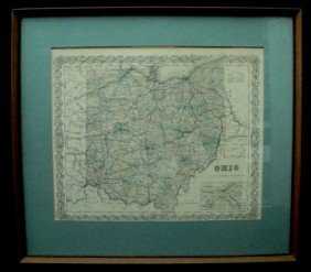 Framed 1855 Colton Map Of Ohio