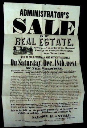 1858 Estate Auction Sale Broadside