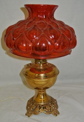 Aladdin Stlye Brass Lamp W/Orange Red Shade