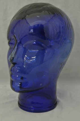 Cobalt Blue Glass Man's Mannequin Head Display