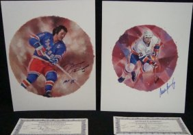 Mike Bossy Brad Park Signed C. Vinh Lithographs