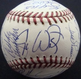 Cleveland Indians Team Signed Ball, 29 Signatures