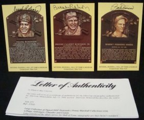 (3) Signed Cooperstown HOF Postcards, Robinson