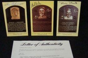 (3) Signed Cooperstown HOF Postcards, Feller