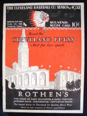 1932 Cleveland Indians Official Score Card