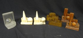 1939 New York World's Fair Bookends Lot Of (4), Marble,