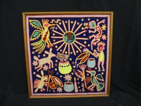 Huichol Indian Peyote Dream Yarn Painting On Wood By
