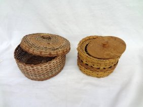 (2) Caribe Indian Baskets With Lids From Dominica
