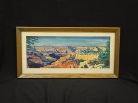 R. Yeager Original Watercolor Grand Canyon Matted And