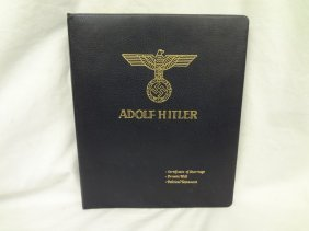 Adolf Hitler's Copy Print Of Marriage Certificate,