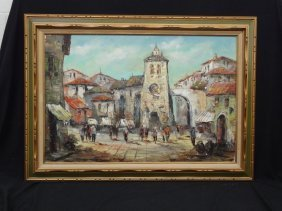 W. Downey. Original Oil On Canvas, Spanish Street Scene